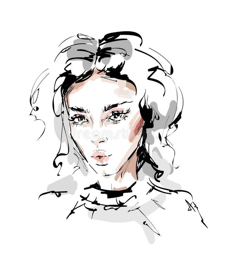 Hand drawn beautiful young woman face. Female face with makeup. Beautiful girl. Sketch. Vector illustration vector illustration