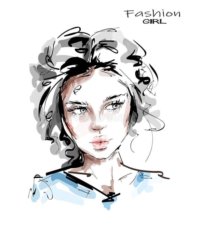 Hand drawn beautiful young woman face. Stylish girl. Fashion woman look. Sketch stock illustration
