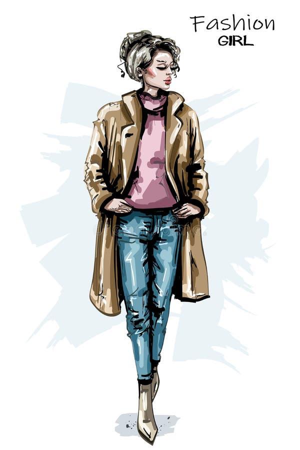 Hand drawn beautiful young woman fashion outfit. Stylish elegant girl. Fashion woman look. Sketch. Hand drawn beautiful young woman fashion outfit. Stylish royalty free illustration