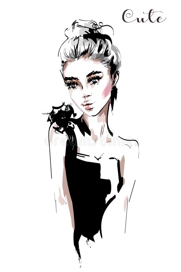 Hand drawn beautiful young woman. Fashion woman portrait. Sketch. Vector illustration royalty free illustration