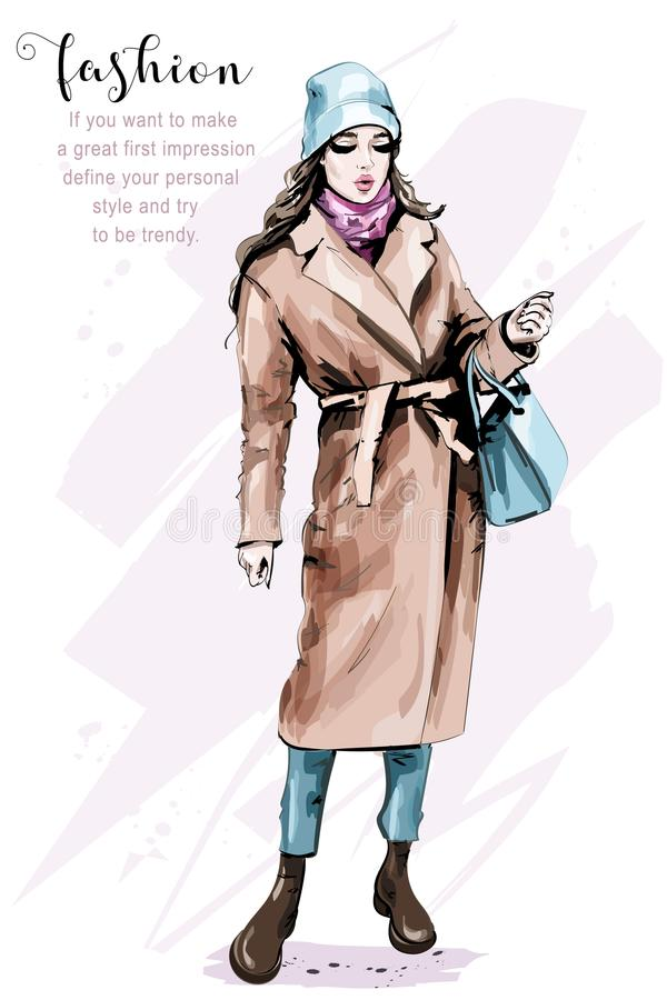 Hand drawn beautiful young woman full body portrait. Fashion woman in stylish clothes. Sketch vector illustration