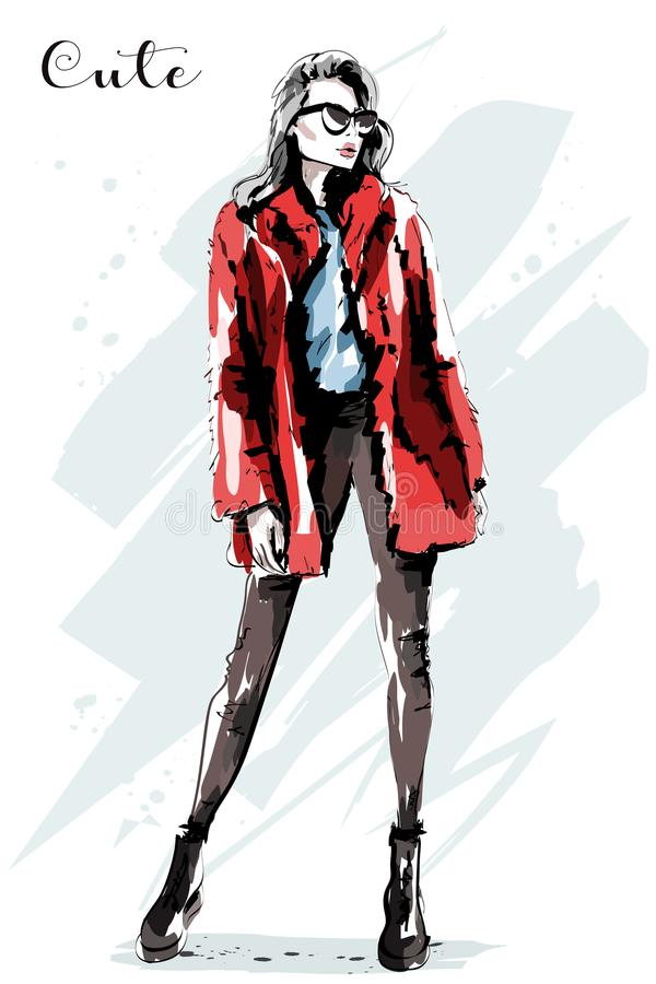Hand drawn beautiful young woman in fur jacket. Fashion model posing. Cute girl in stylish cllthes. Sketch stock illustration