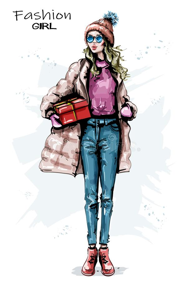 Hand drawn beautiful young woman with gift box. Stylish girl winter outfit. Fashion woman look. Sketch vector illustration