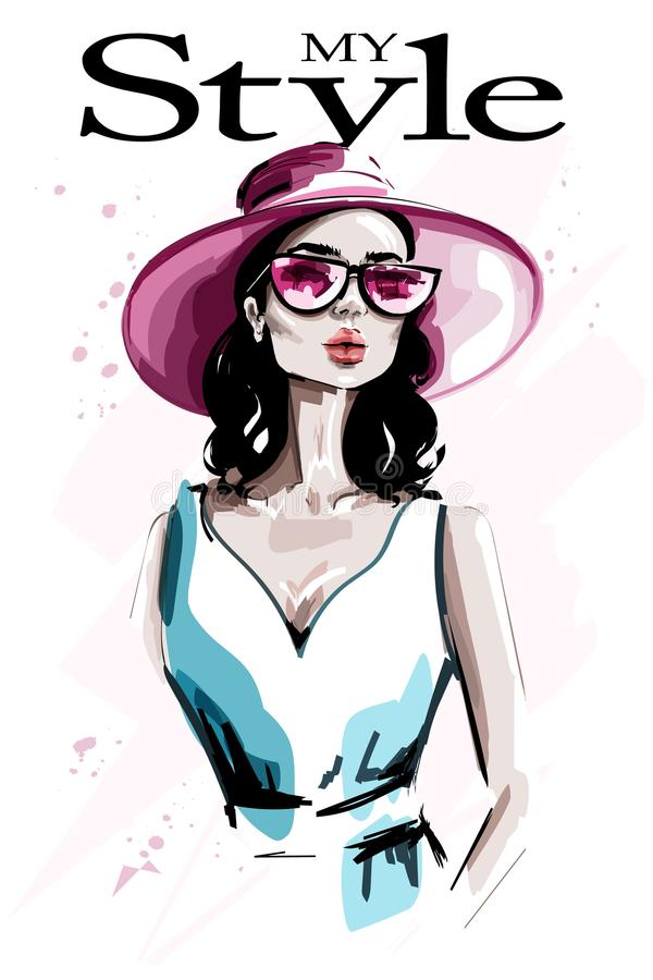 Hand drawn beautiful young woman in hat. Fashion woman in sunglasses. Stylish lady. Sketch vector illustration