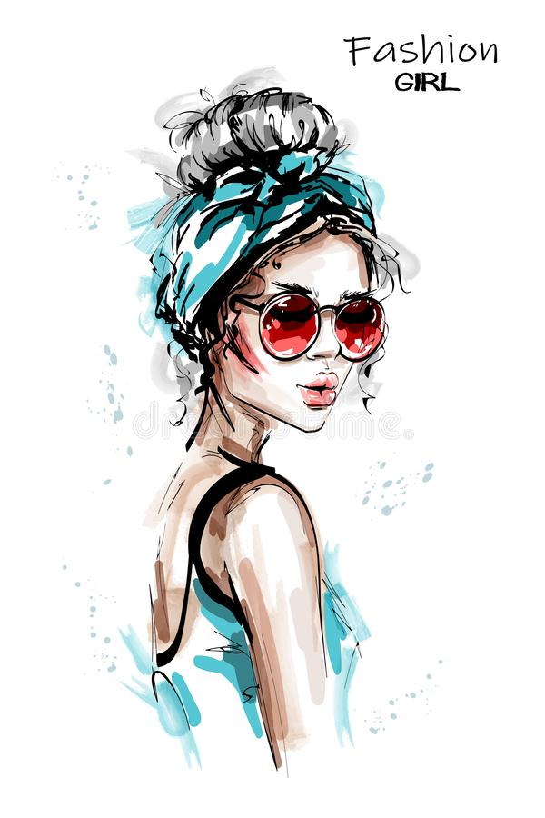 Hand drawn beautiful young woman with headband. Stylish elegant girl in sunglasses. Fashion woman portrait. vector illustration