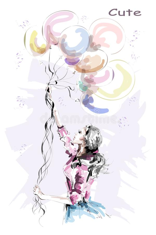 Hand drawn beautiful young woman holding colorful balloons. Stylish blonde hair girl. Fashion woman with balloons. stock illustration