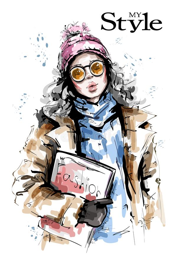 Hand drawn beautiful young woman holding fashion magazine. Stylish girl in knit cap. Fashion woman winter look. Sketch royalty free illustration