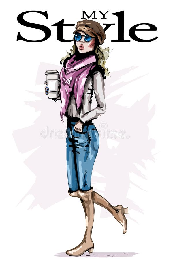 Hand drawn beautiful young woman holding plastic coffee cup. Stylish girl in cap. Fashion woman look. Female character. stock illustration