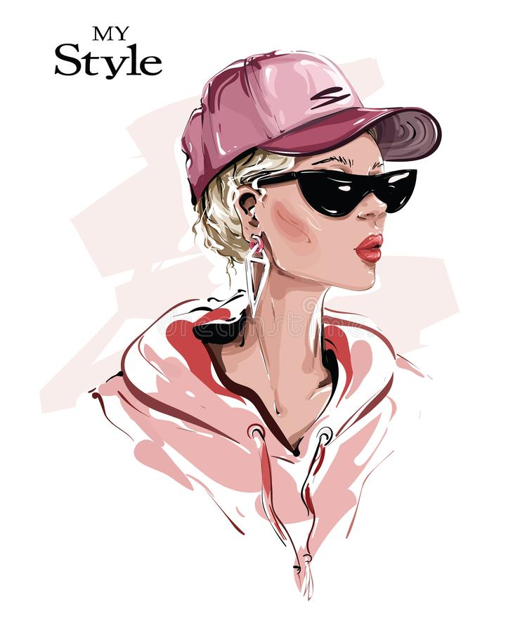Free Hand Drawn Beautiful Young Woman In Cap. Stylish Girl In Sunglasses. Fashion Woman Look. Sketch. Royalty Free Stock Image - 161192616