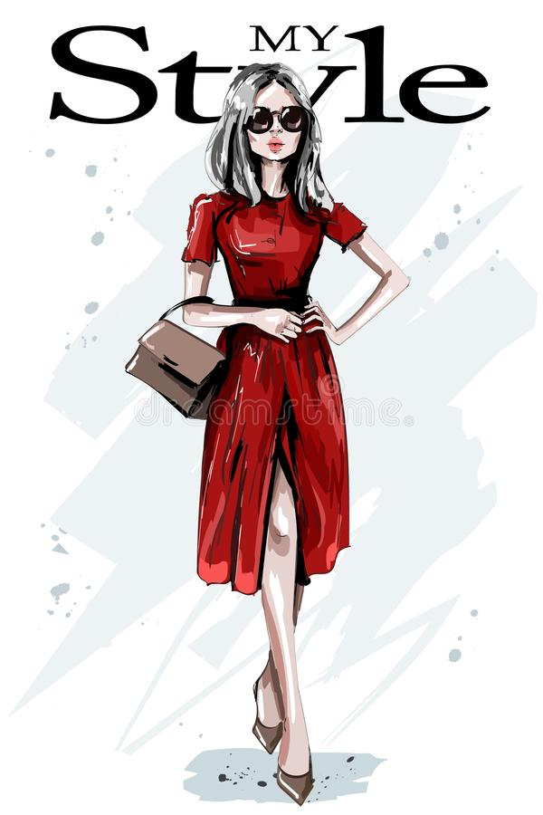Free Hand Drawn Beautiful Young Woman In Red Dress. Stylish Elegant Girl With Bag. Fashion Woman Outfit. Royalty Free Stock Image - 125951516