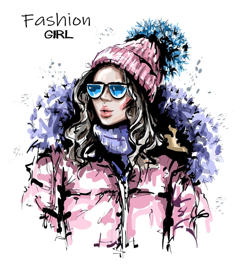 Hand drawn beautiful young woman in knit cap. Stylish girl in winter clothes. Fashion woman look. Sketch vector illustration