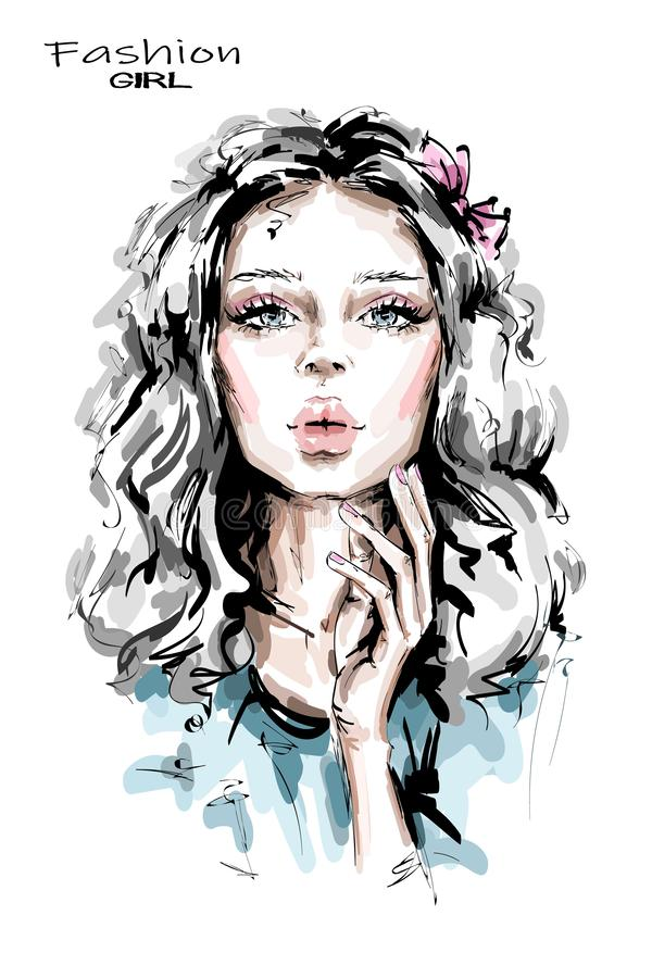 Hand drawn beautiful young woman with long blonde hair. Stylish girl. Fashion woman look. Beautiful female face. Sketch royalty free illustration