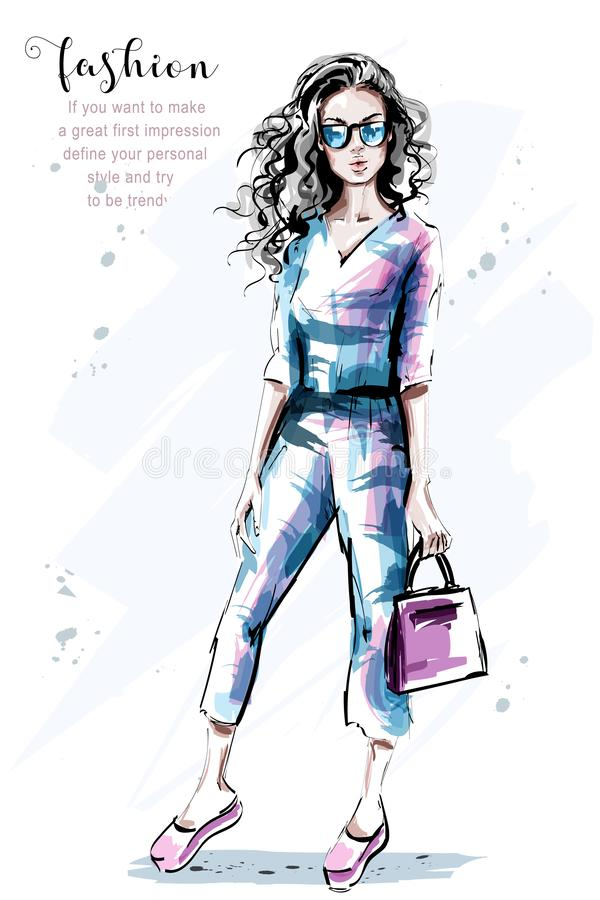 Hand drawn beautiful young woman with long curly hair. Stylish elegant girl with bag. Fashion woman portrait. vector illustration