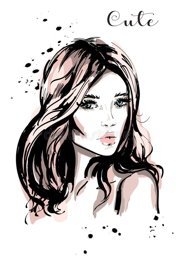 Hand drawn beautiful young woman with long hair. Stylish cute girl. Fashion woman portrait. Sketch vector illustration