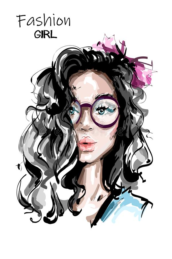 Hand drawn beautiful young woman with long hair. Stylish elegant girl with bow in hair. Fashion woman portrait. stock illustration