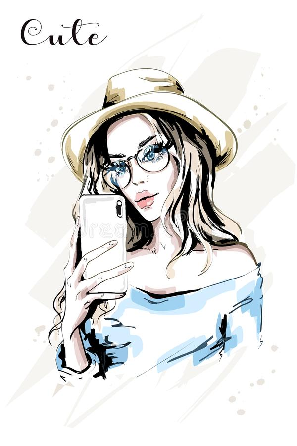 Hand drawn beautiful young woman making selfie. Fashion woman with phone. Stylish cute girl. vector illustration