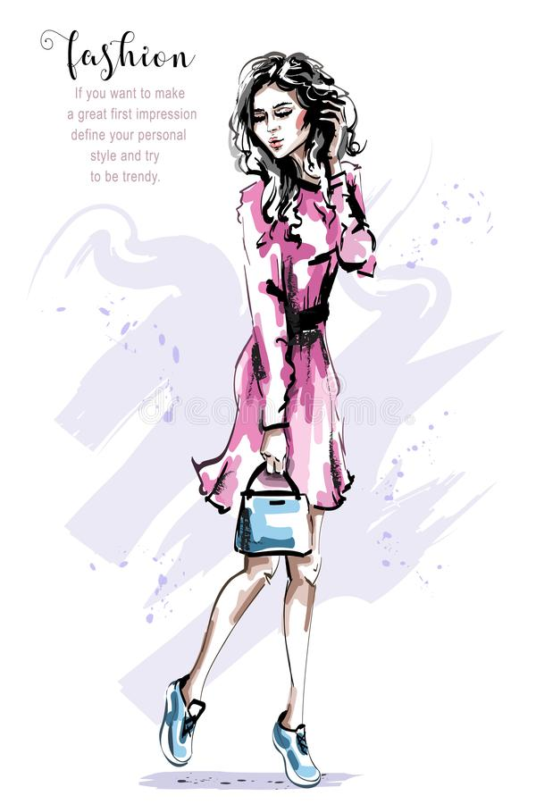 Hand drawn beautiful young woman in pink dress. Stylish elegant girl with bag. Fashion woman outfit. stock illustration
