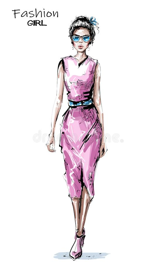 Hand drawn beautiful young woman in pink dress. Stylish elegant girl. Fashion woman look. Sketch vector illustration