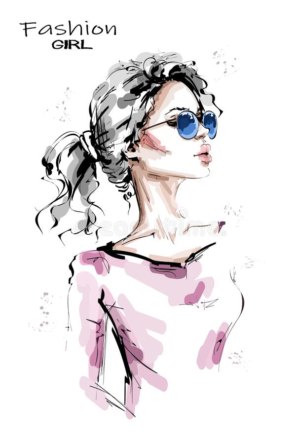 Hand drawn beautiful young woman with ponytail. Stylish blonde hair girl. Fashion woman look. Female character in sunglasses. Sketch royalty free illustration