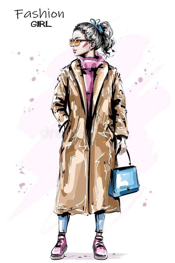 Hand drawn beautiful young woman with ponytail. Stylish elegant girl in coat. Fashion woman outfit. Sketch stock illustration