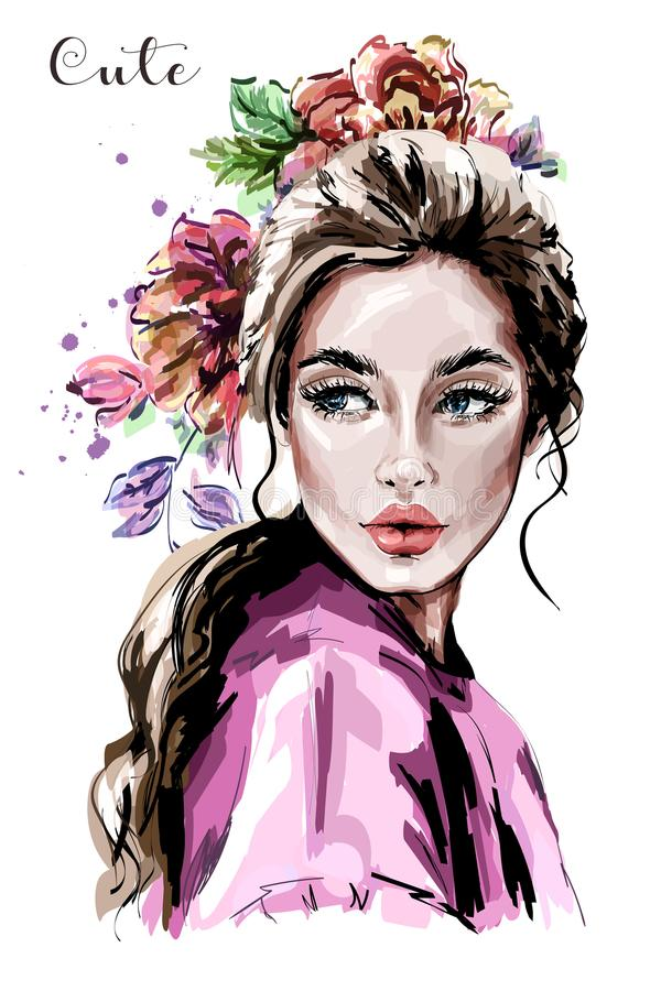 Hand drawn beautiful young woman portrait. Fashion woman. Cute girl with flowers. royalty free illustration