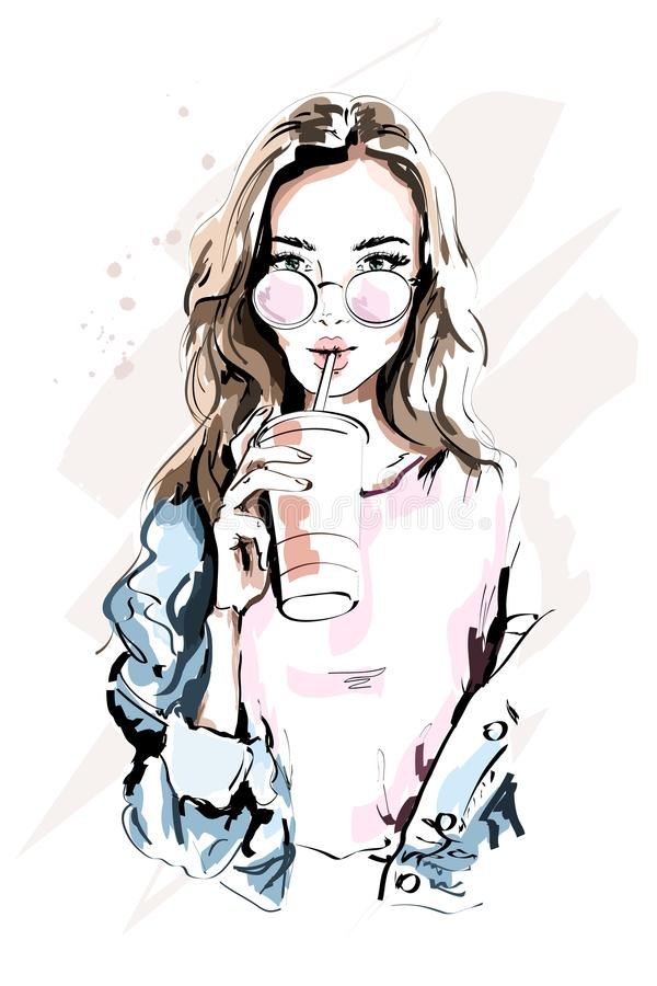 Hand drawn beautiful young woman portrait. Fashion girl with coffee cup. Stylish woman in sunglasses. Sketch royalty free illustration