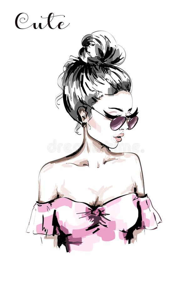 Hand drawn beautiful young woman portrait. Fashion woman in sunglasses. Cute blond hair girl with stylish hairstyle. vector illustration