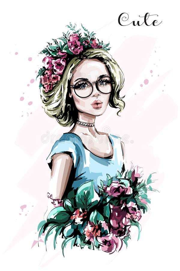 Hand drawn beautiful young woman portrait. Fashion woman in flower wreath. Pretty blond hair girl with flowers. Sketch vector illustration