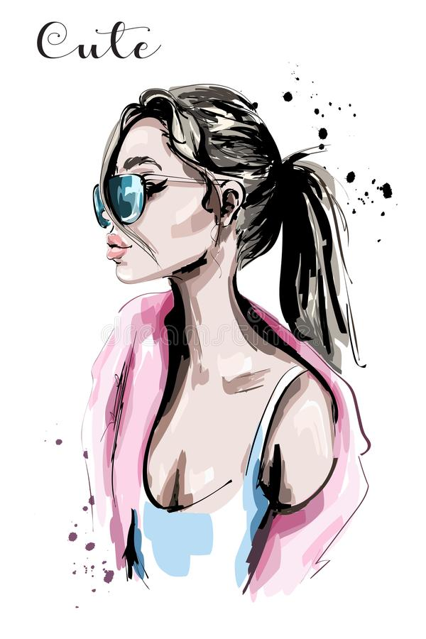 Hand drawn beautiful young woman portrait. Girl with ponytail. Fashion woman in sunglasses. Stylish lady. Sketch vector illustration