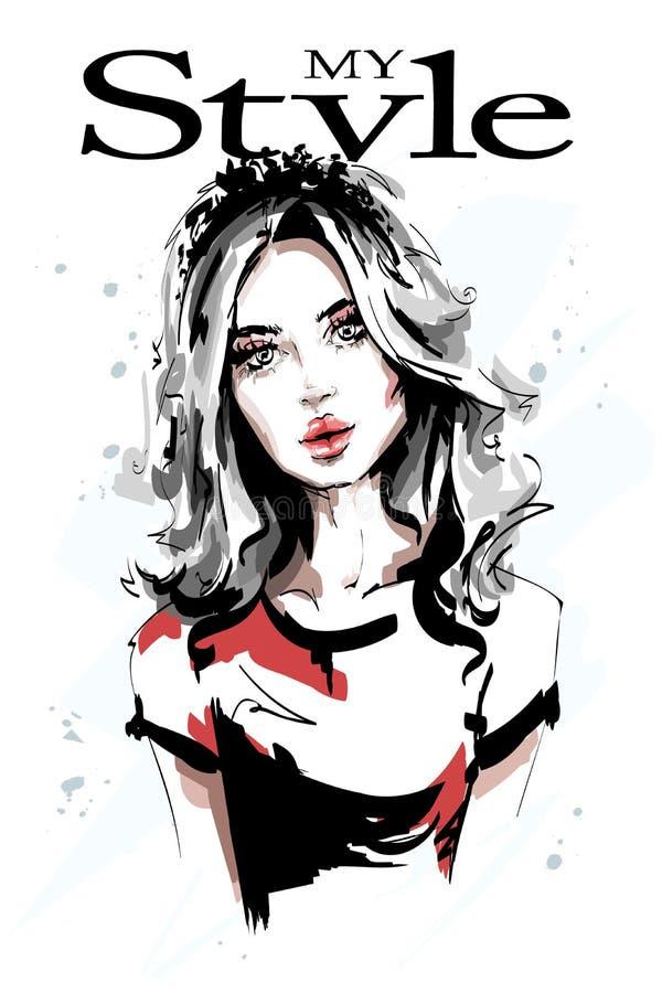 Hand drawn beautiful young woman portrait. Stylish elegant girl with long hair. Fashion woman. Sketch stock illustration