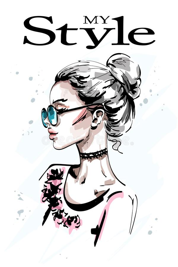 Hand drawn beautiful young woman profile. Stylish elegant blond hair girl in sunglasses. Fashion woman portrait. royalty free illustration
