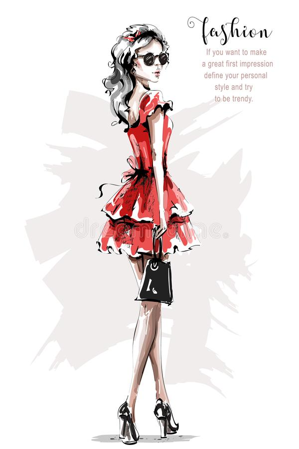 Hand drawn beautiful young woman in red dress. Stylish elegant girl. Fashion woman look. Sketch. Vector illustration stock illustration
