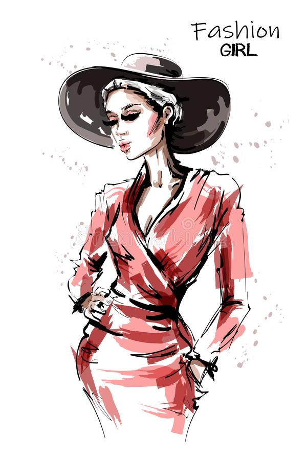 Hand drawn beautiful young woman in red dress. Stylish elegant girl in hat. Fashion woman portrait. royalty free illustration