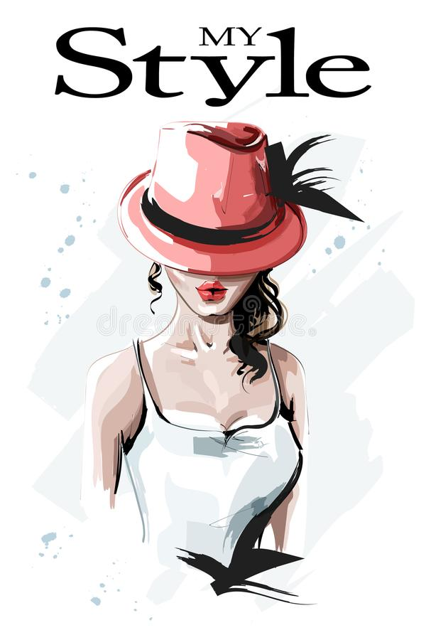 Hand drawn beautiful young woman in red hat. Fashion woman with curly hair. Stylish lady. royalty free illustration