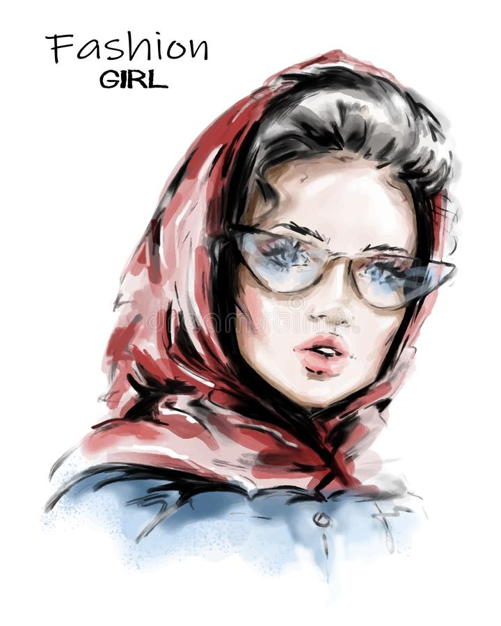 Hand drawn beautiful young woman in red scarf on her head. Stylish elegant girl. Fashion woman look. Sketch. Vector illustration royalty free illustration