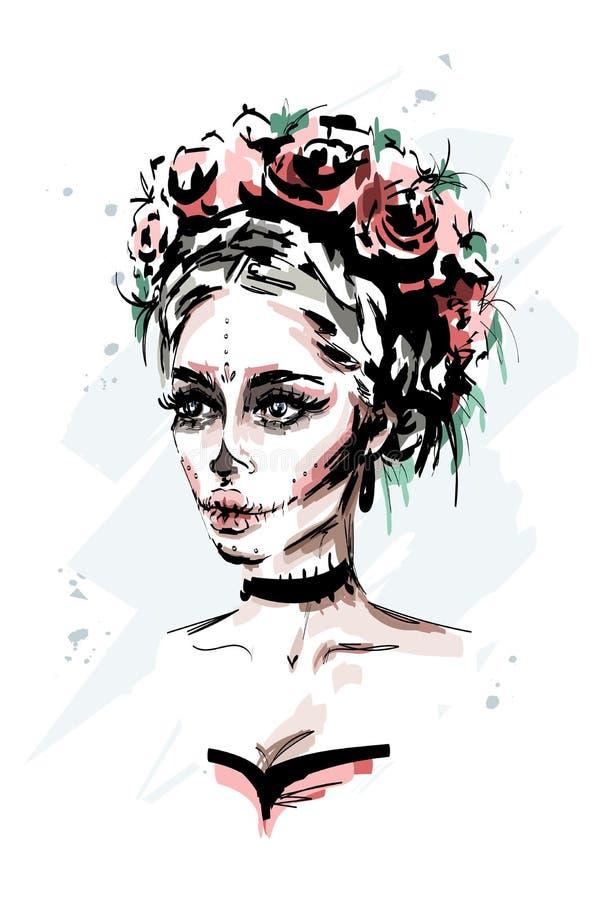 Hand drawn beautiful young woman with santa muerte makeup. Stylish halloween look. Fashion woman portrait. stock illustration