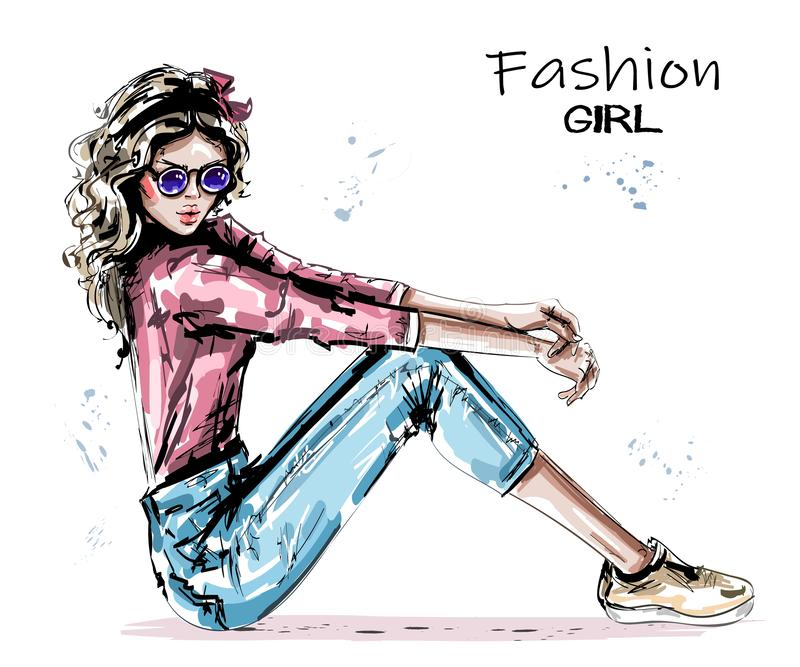 Hand drawn beautiful young woman sitting on floor. Stylish elegant girlin sunglasses. Fashion woman look. royalty free illustration