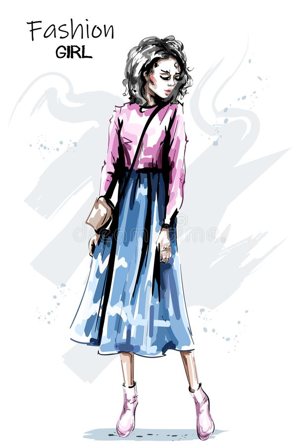 Hand drawn beautiful young woman in skirt. Stylish elegant girl outfit. Fashion woman full body portrait. Sketch royalty free illustration