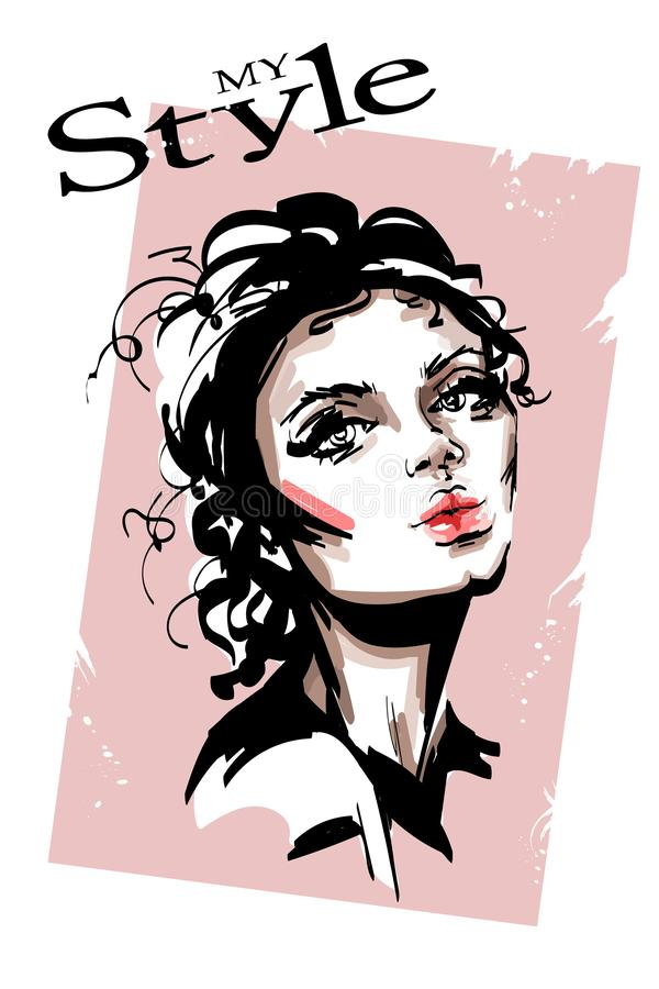 Hand drawn beautiful young woman. Stylish elegant girl. Fashion woman portrait. Sketch stock illustration
