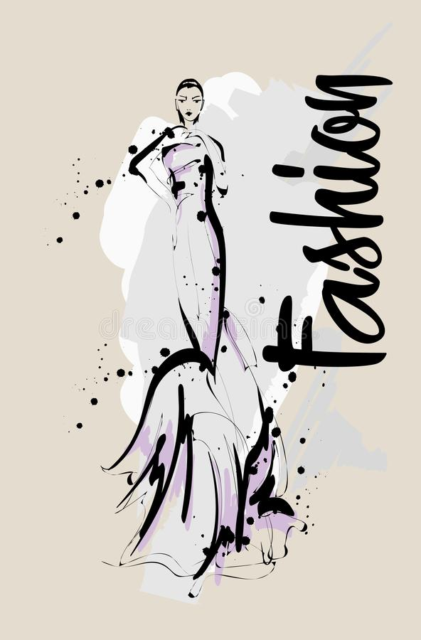 Hand drawn beautiful young woman. Stylish girl. Fashion woman sketch. Fashion model girl royalty free illustration