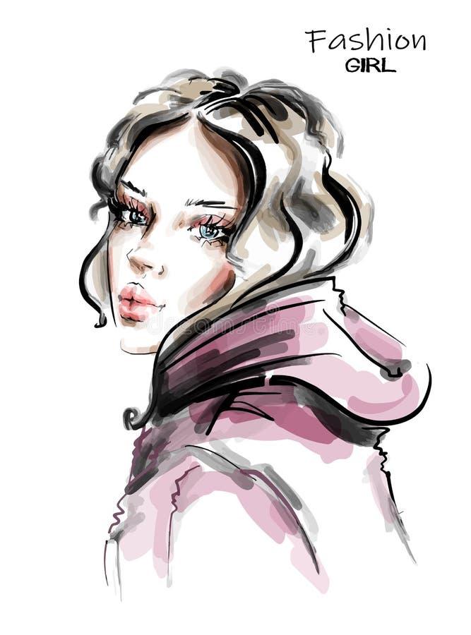 Hand drawn beautiful young woman. Stylish girl. Fashion woman look. Sketch. Vector illustration vector illustration