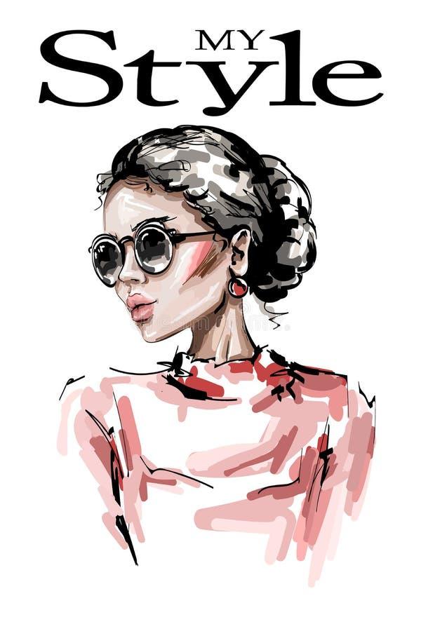 Hand drawn beautiful young woman in sunglasses. Stylish elegant girl. Fashion woman look. Sketch stock illustration
