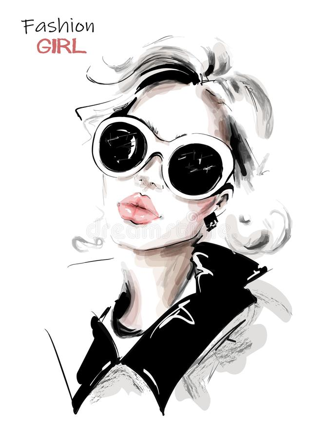 Hand drawn beautiful young woman in sunglasses. Stylish elegant girl. Fashion woman look. Sketch. stock illustration