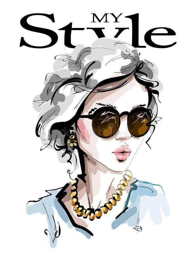 Hand drawn beautiful young woman in sunglasses. Stylish elegant girl. Fashion woman look. Sketch. Vector illustration royalty free illustration