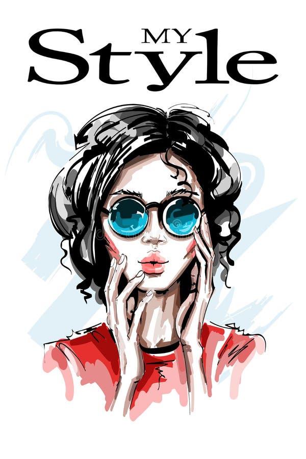 Hand drawn beautiful young woman in sunglasses. Stylish elegant girl. Fashion woman portrait. royalty free illustration