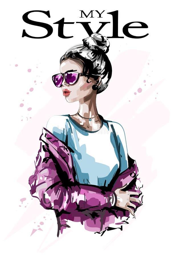 Hand drawn beautiful young woman in sunglasses. Stylish elegant girl. Fashion woman. Sketch royalty free illustration