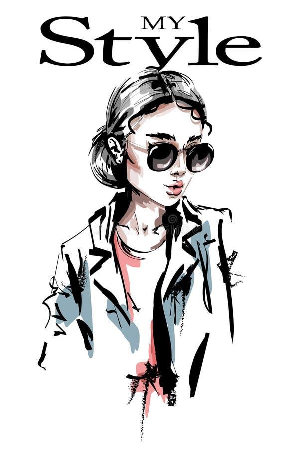 Hand drawn beautiful young woman in sunglasses. Stylish elegant girl. Fashion woman. Sketch stock illustration