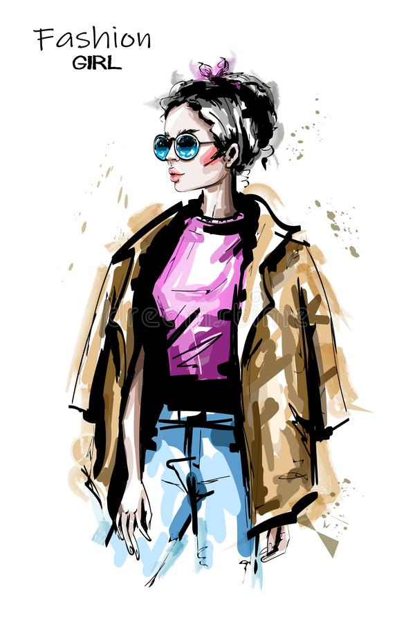 Hand drawn beautiful young woman in sunglasses. Stylish elegant girl outfit. Fashion woman portrait. Sketch vector illustration