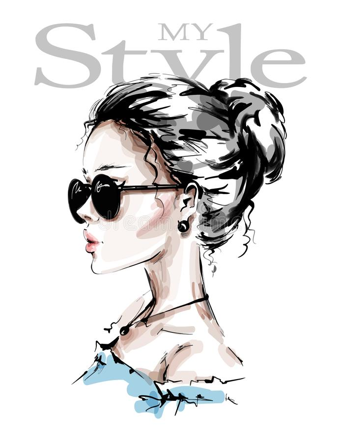 Hand drawn beautiful young woman in sunglasses. Stylish girl. Fashion woman look. Female profile. Sketch. Vector illustration royalty free illustration