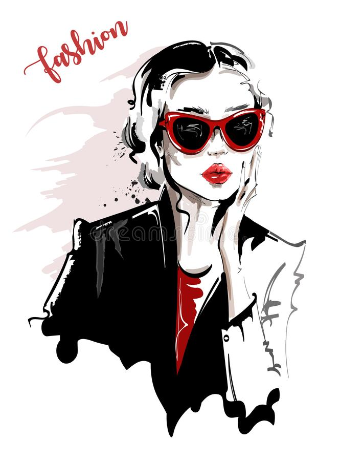 Hand drawn beautiful young woman in sunglasses. Stylish girl. Fashion woman look. Sketch. Vector illustration stock illustration
